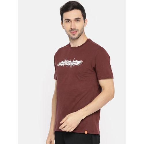 Wildcraft Men Burgundy Printed Round Neck T-shirt