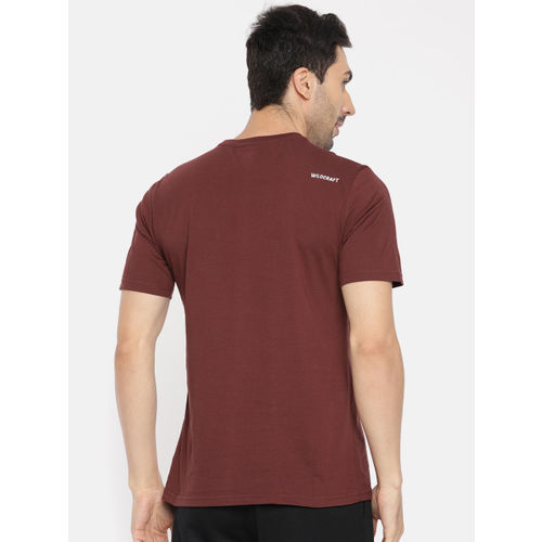 Wildcraft Men Burgundy Printed Round Neck T-shirt