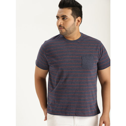 Sztori Men Navy Blue & Rust Red Striped Round Neck T-shirt