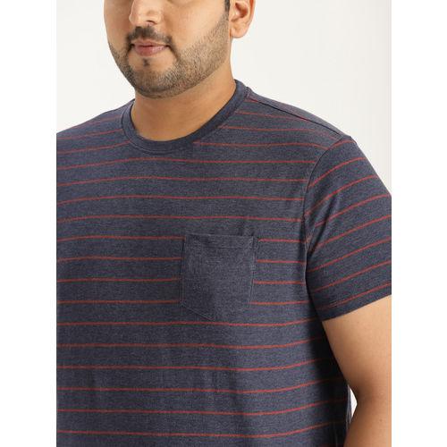 Sztori Men Navy Blue & Rust Red Striped Round Neck T-shirt