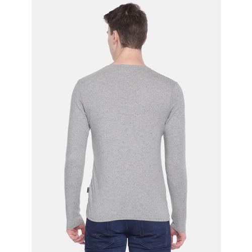Jack & Jones Men Grey Self Design Round Neck T-shirt