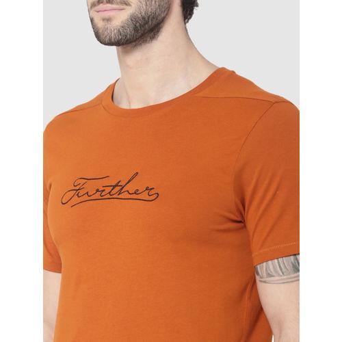 Jack & Jones Men Rust Solid Round Neck T-shirt