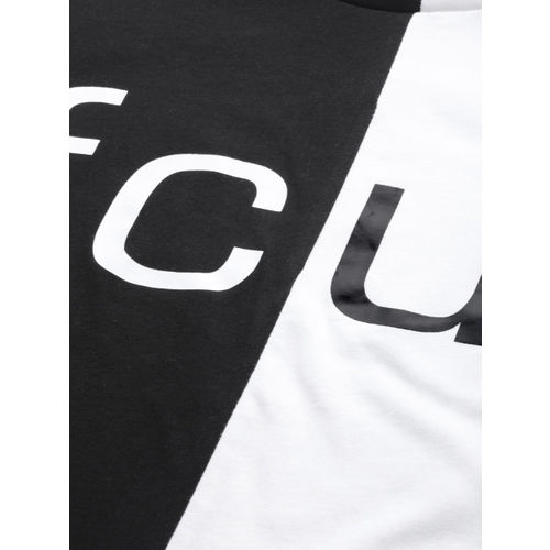 French Connection Men Black Colourblocked Round Neck T-shirt