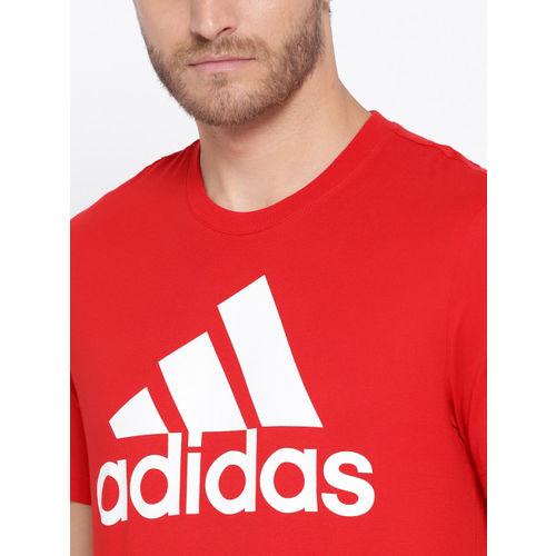 ADIDAS Men Red ESS Linear Printed Round Neck Training T-shirt