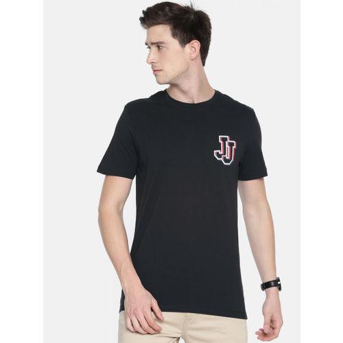 Jack & Jones Men Black Solid Round Neck T-shirt
