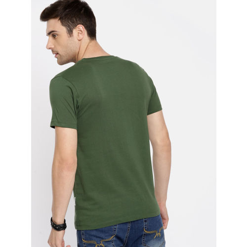 Roadster Men Green Printed Round Neck T-shirt