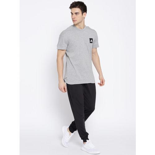 ADIDAS Men Grey Melange ID FAT3S Solid Training T-shirt