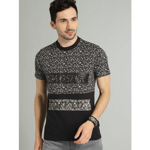 Roadster Men Black & Grey Printed Round Neck T-shirt
