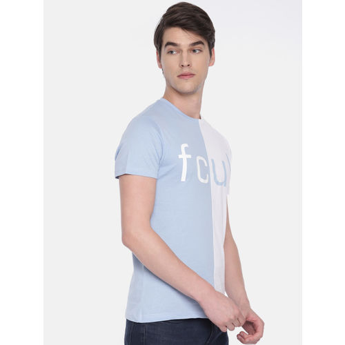 French Connection Men Blue Colourblocked Round Neck T-shirt