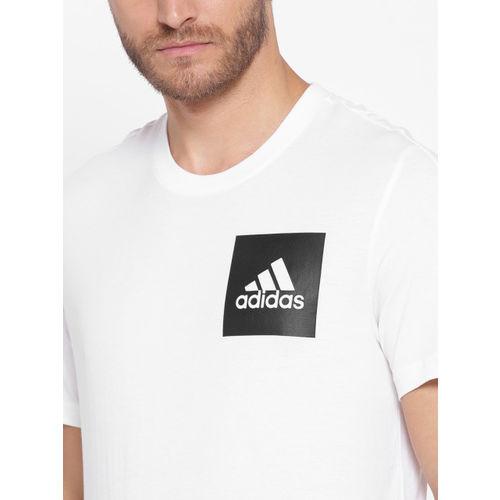 ADIDAS Men White ESS Chestlogo Solid Round Neck Training T-shirt