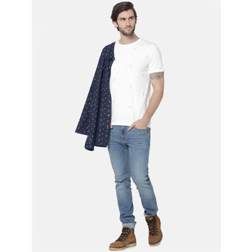 Jack & Jones Men White Slim Fit Self Design Round Neck T-shirt