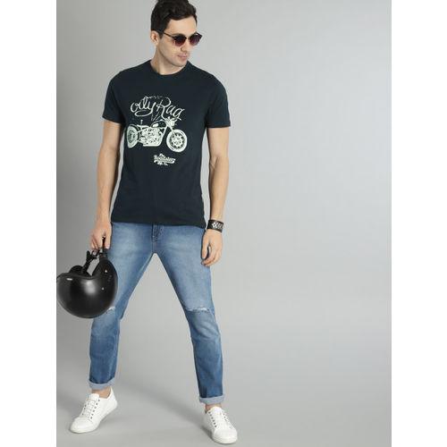 Roadster Men Navy Printed Round Neck T-shirt