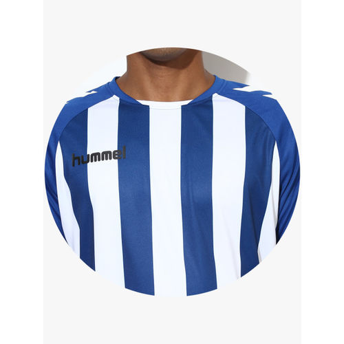 hummel Men Navy Blue & White Striped Round Neck T-shirt