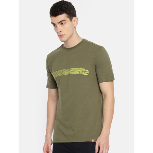Wildcraft Men Olive Green Solid Round Neck T-shirt