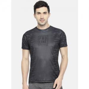 Proline Active Men Charcoal Grey & Black Prodry Printed Round Neck T-shirt