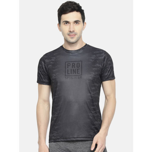 Proline Active Men Charcoal Grey & Black Prodry Printed Round Neck T-shirt