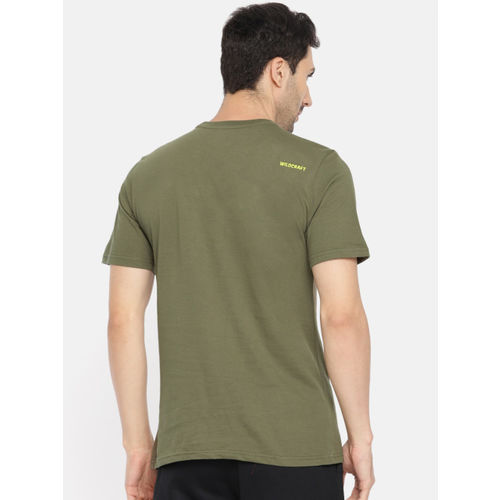 Wildcraft Men Olive Green Printed Round Neck T-shirt