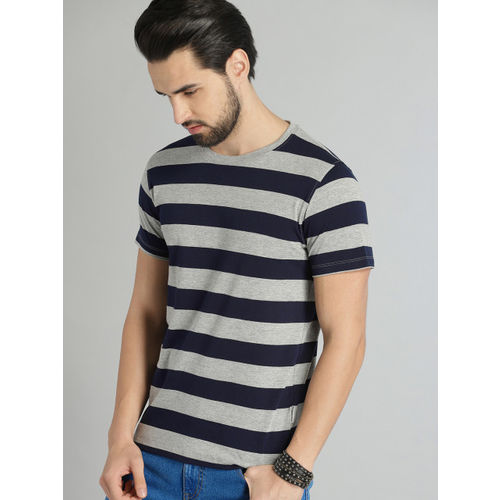 Roadster Men Grey Melange & Navy Blue Striped Round Neck T-shirt
