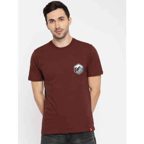Wildcraft Men Rust Solid Round Neck T-shirt