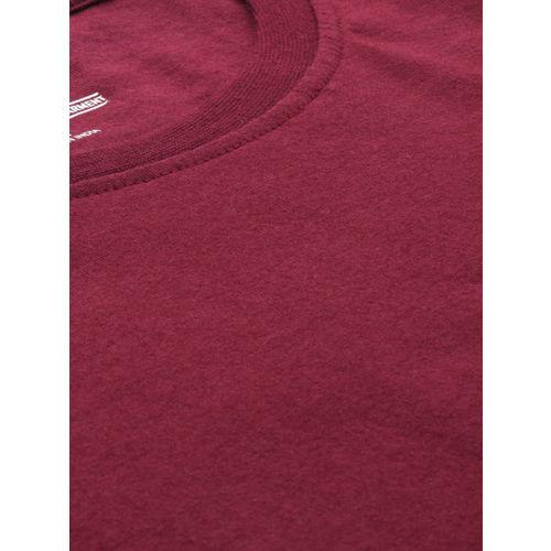 Roadster Men Maroon Solid Round Neck T-shirt