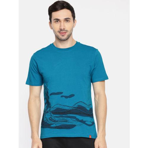 Wildcraft Men Teal Printed Round Neck T-shirt