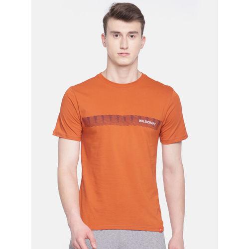 Wildcraft Men Orange Printed Round Neck T-shirt