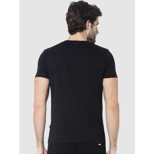 Jack & Jones Men Black Printed Round Neck T-shirt