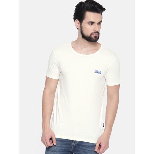 Jack & Jones Men Off-White Solid Round Neck T-shirt