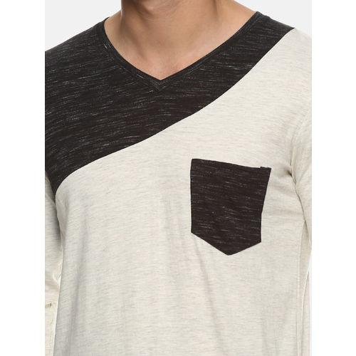 Campus Sutra Men Cream-Coloured Colourblocked V-Neck T-shirt