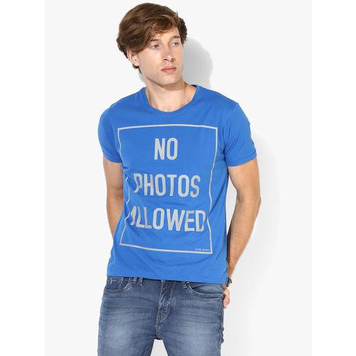 Flying Machine Blue Printed Regular Fit Round Neck T-Shirt