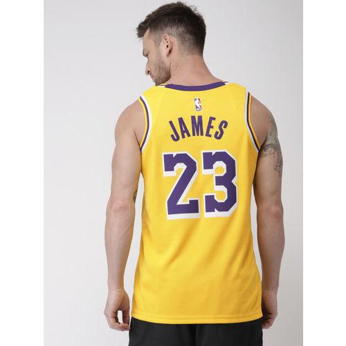 Nike Men Yellow Printed Standard Fit JSY ROAD Los Angeles Lakers DriFit Round Neck T-shirt
