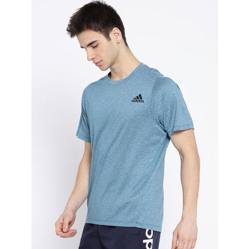 ADIDAS Men Teal Blue FL SFT Solid T-shirt