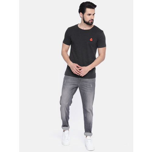 Jack & Jones Men Grey Solid Round Neck T-shirt