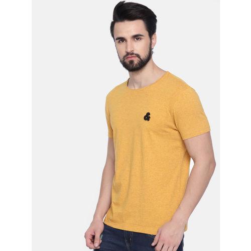 Jack & Jones Men Mustard Yellow Solid Round Neck T-shirt