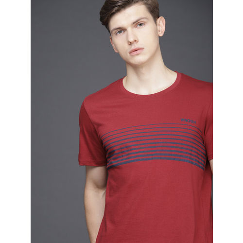 WROGN Men Red & Navy Striped Slim Fit Round Neck T-shirt