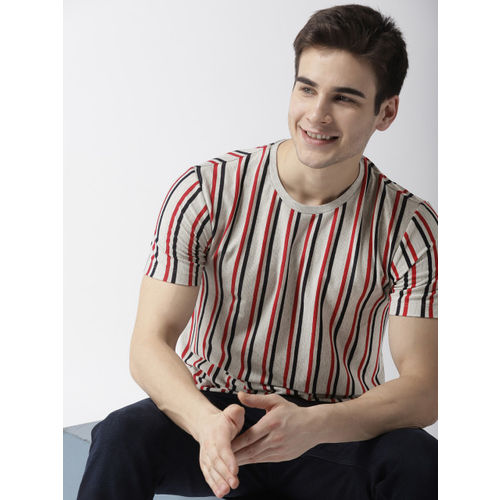 Mast & Harbour Men Grey Melange & Red Striped Round Neck T-shirt