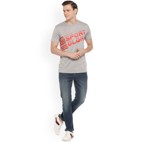 Allen Solly Sport Men Grey Printed Round Neck T-shirt