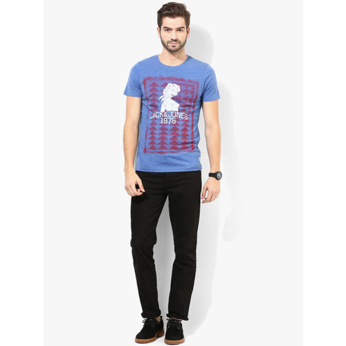 Jack & Jones Blue Printed Slim Fit Round Neck T-Shirt