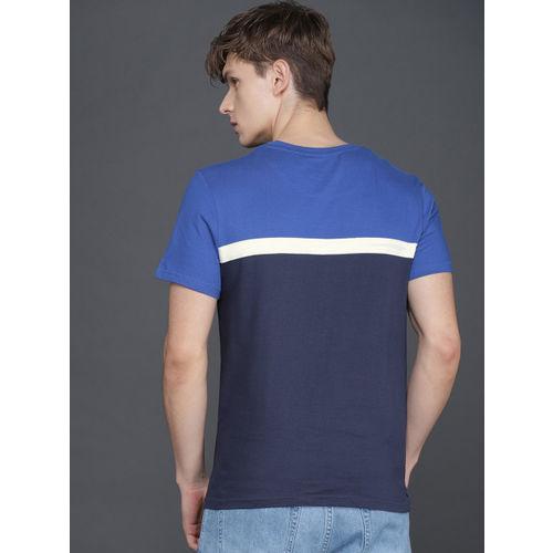 WROGN Men Blue Colourblocked Round Neck T-shirt