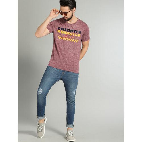 Roadster Men Red Printed Round Neck T-shirt