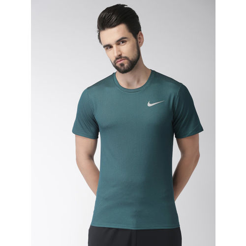 Nike Men Teal Green Self-Design Standard Fit DF BRTHE SS DRI-FIT Running T-shirt