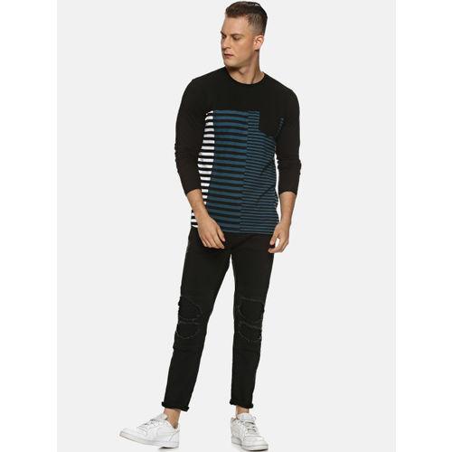 Campus Sutra Men Black & Blue Striped Round Neck T-shirt
