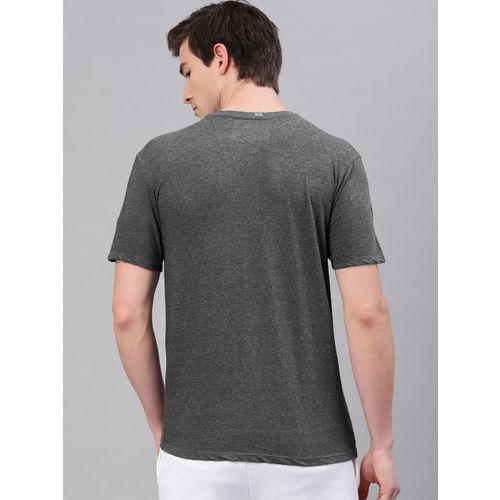 HRX by Hrithik Roshan Men Charcoal Grey & Green Graphic Printed Crew Neck Tshirt