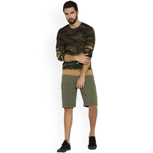 Campus Sutra Men Beige & Olive Green Printed Round Neck T-shirt