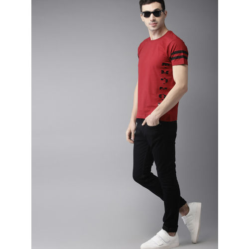 HERE&NOW Men Red Printed Round Neck T-shirt