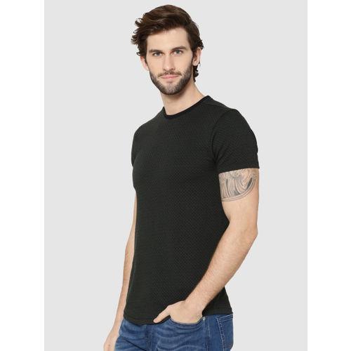 Jack & Jones Men Olive Green Printed Round Neck T-shirt