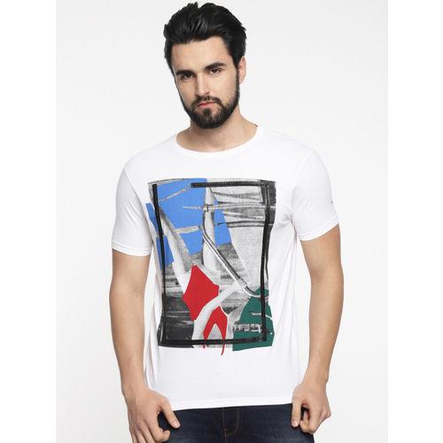 Pepe Jeans Men White Printed Slim Fit Round Neck T-shirt