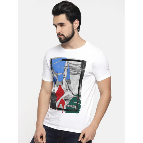 Pepe Jeans Men White Printed Slim Fit Round Neck T-shirt
