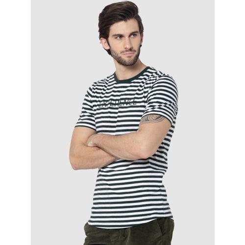 Jack & Jones Men Olive Green & White Striped Round Neck T-shirt