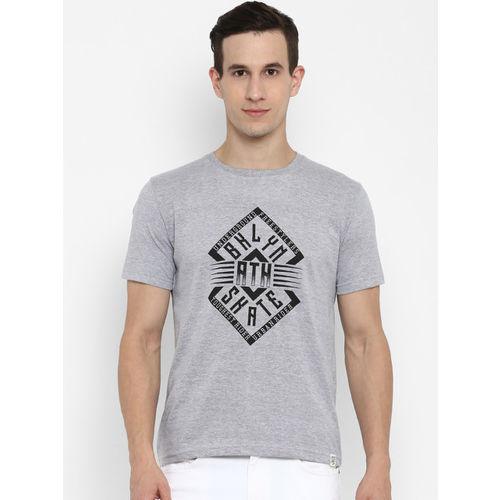Joven Men Grey Printed Round Neck T-shirt